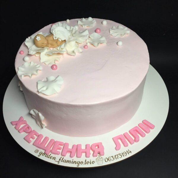Торт без мастики на хрестини дівчинки