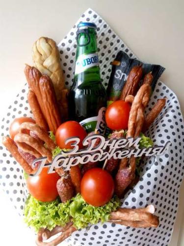 Букет з пивом і закускою